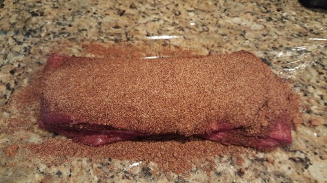 Brisket ready for wrapping and marinating
