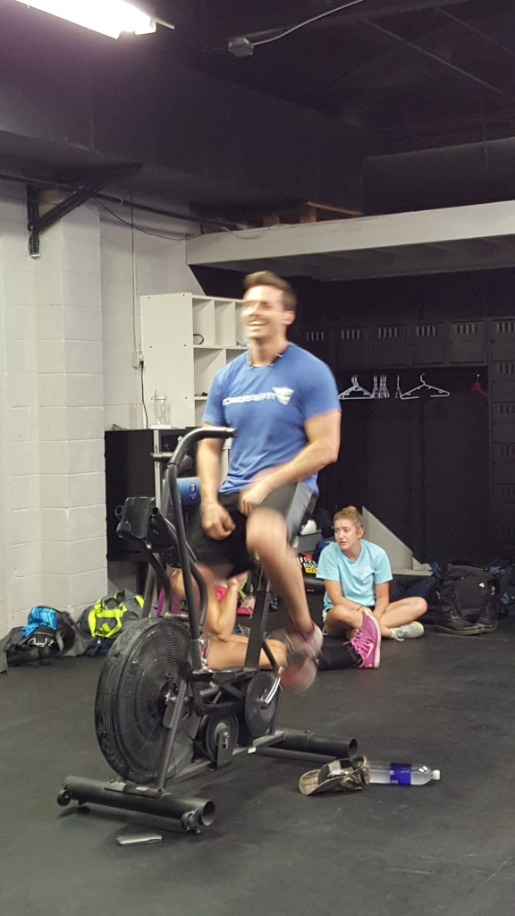 Troy putting in work on the airdyne.